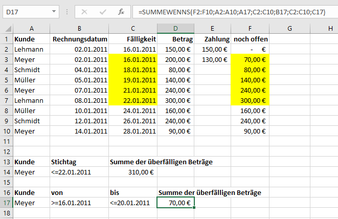 SUMMEWENNS in Excel