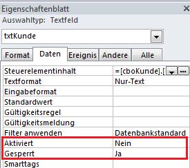 Eigenschaft Daten für Kombinationsfeld in Access
