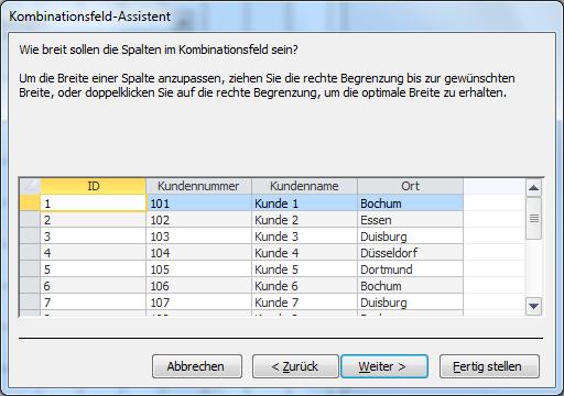 Kombinationsfelds-Assistent in Access