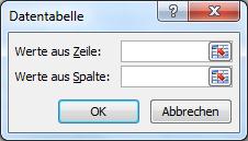 Excel Datentabelle Dialogbild