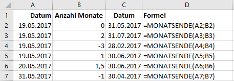 Funktion MONATSENDE in Excel