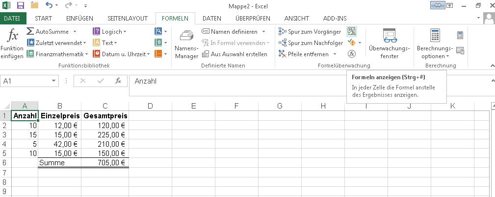 Formeln in Excel ausdrucken | IT-Service Ruhr