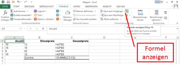 Excel Formeln Drucken