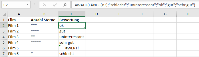 Excel Wahl Funktion