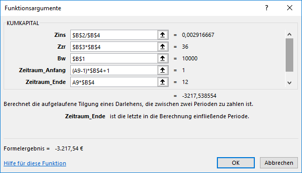 Funktion KUMKAPITAL in Excel
