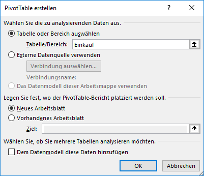 neue PivotTable in Excel
