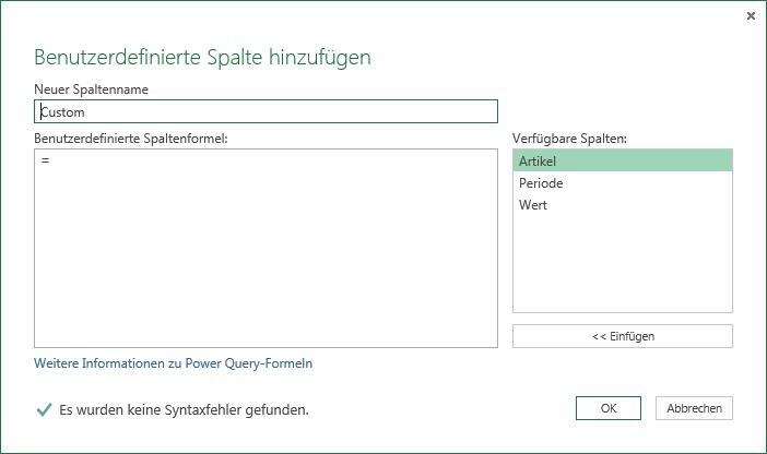 Power Query Benutzedefinierte Spalte einfügen