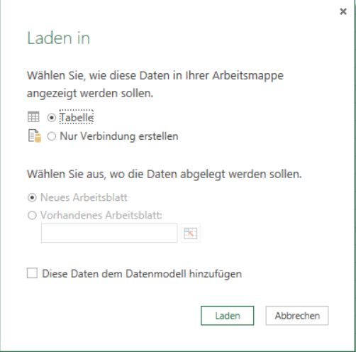 Optionen beim Laden in Power Query