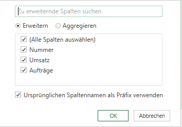 Spalte erweitern in Power Query