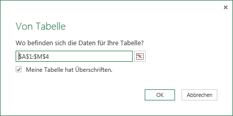 Power Query Von Tabelle