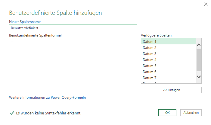 Benutzerdefinierte Spalte in Power Query