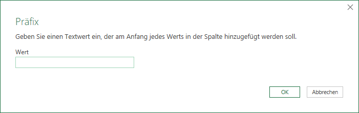 Präfix hinzufügen in Power Query
