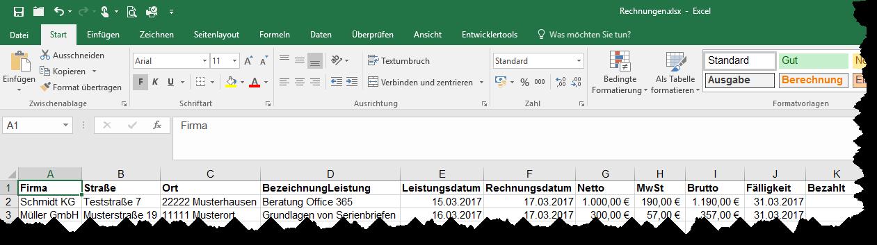 Rechnungsliste in Excel