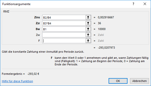 Funktion RMZ in Excel