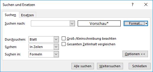 Suchen und Ersetzen mit verbundenen Zellen in Excel