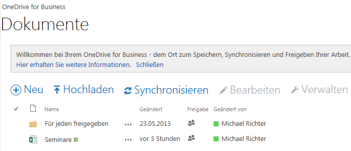 Dateien in OneDrive for Business