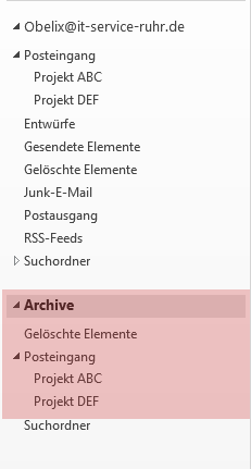 Outlook AutoArchivierung Archivordner