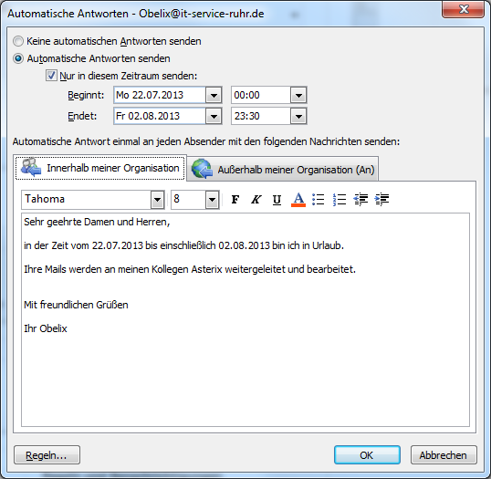 Outlook-Abwesenheitsassistenten nutzen | IT-Service Ruhr