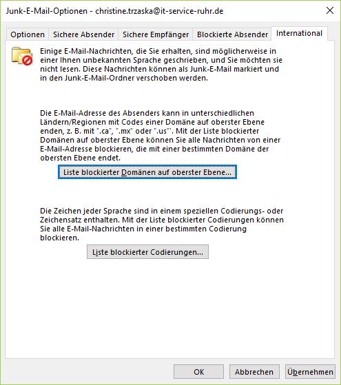 E-Mail blockieren durch Regeln