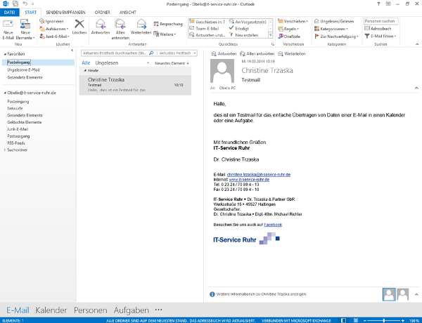 E-Mail in Outlook als Aufgabe
