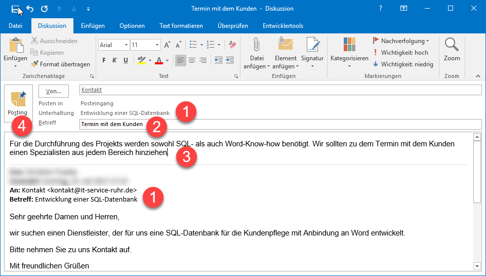 E-Mail-Diskussion in Outlook