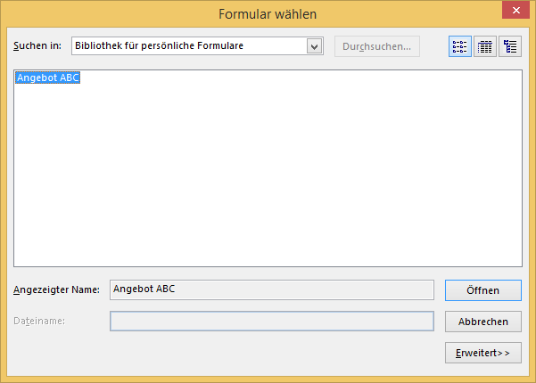Formular in Outlook speichern