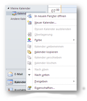 Kalendereigenschaften Outlook