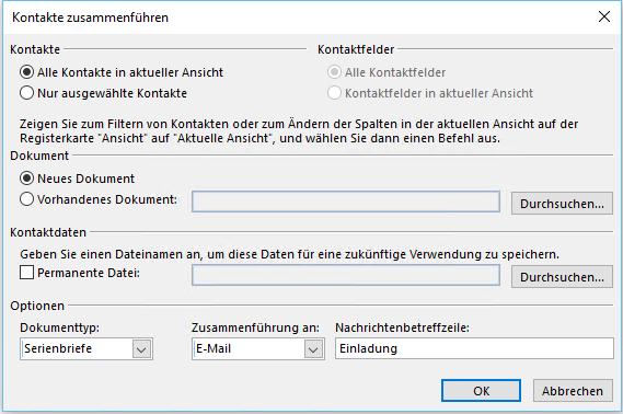 Kontakt in Outlook zusamenführen