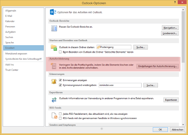 Outlook Optionen AutoArchivierung