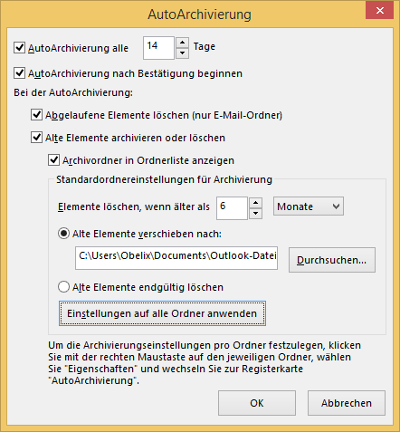 Outlook Optionen AutoArchivierung Standardeinstellungen