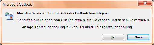 Kalenderdatei Outlook