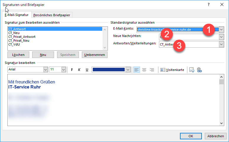 Signaturen und Briefpapaier in Outlook
