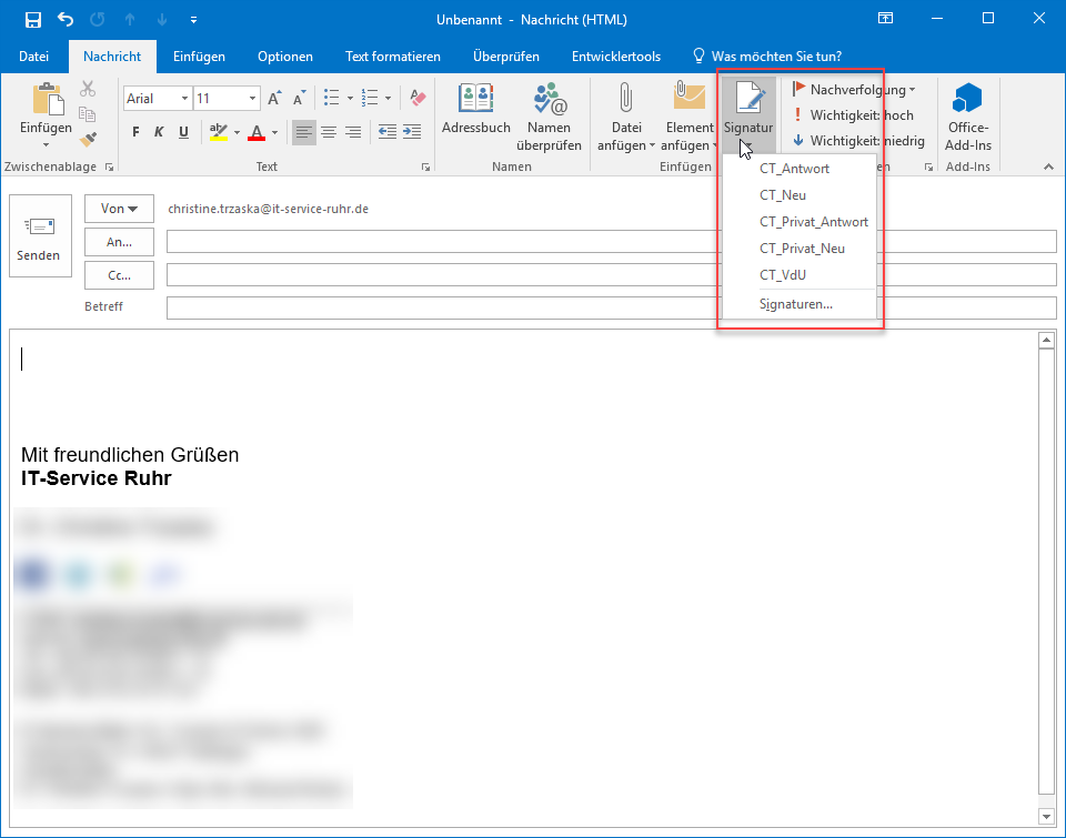 Signaturen in Outlook wählen