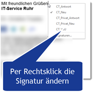 Signaturen in Outlook per Kontextmenü wählen