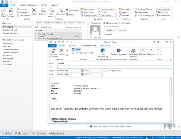 Aus Einer E Mail In Outlook Einen Termin Oder Eine Aufgabe Erstellen