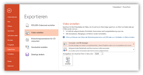PowerPoint-Präsentation als Video