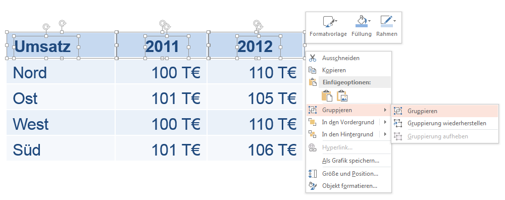 Tabelle animieren in PowerPoint
