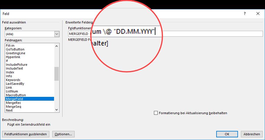 Seriendruck Word Feldfunktion Datumsformat