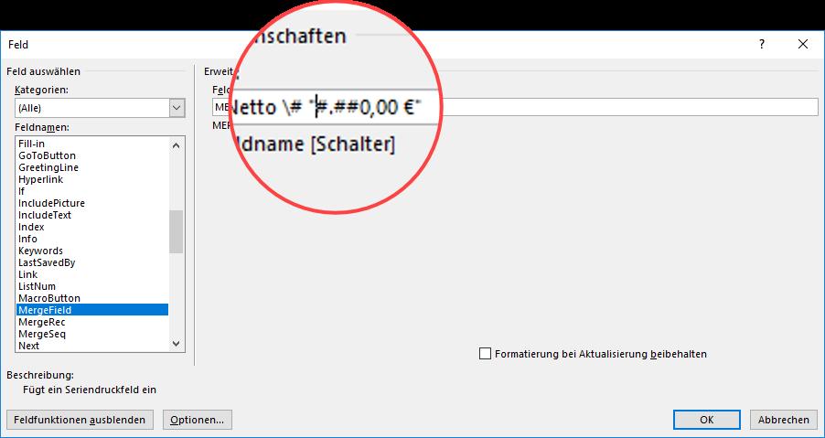 Seriendruck Word Feldfunktion Euroformat
