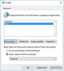 Outlook-Profil löschen