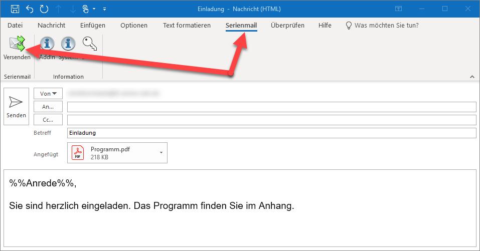 Personalisierte Serienmails mit Anhang aus Outlook