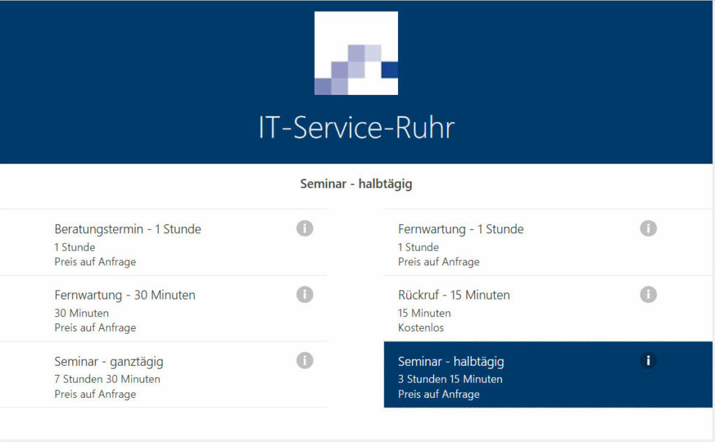 Online-Terminverwaltung - Dienst auswählen