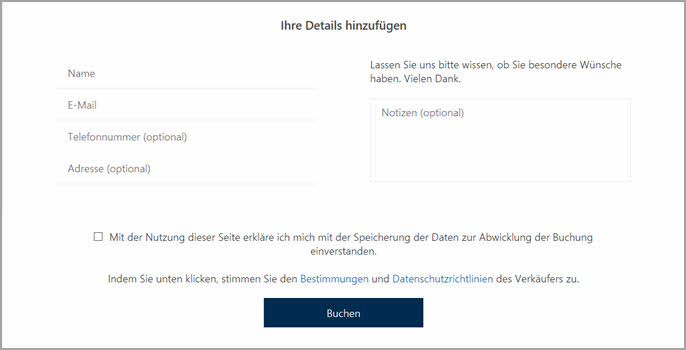 Online-Terminverwaltung - Daten eingeben