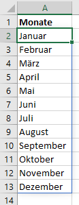 Monatsnamen mit der Funktion SEQUENZ erzeugen