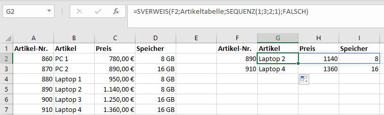 Funktion SEQUENZ und SVERWEIS