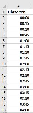 Uhrzeiten mit der Funktion SEQUENZ erzeugen