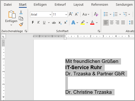 Markierte Textpassage in Word