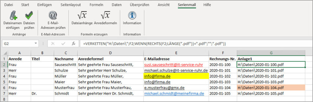 Excel-Add-In für Serienmail