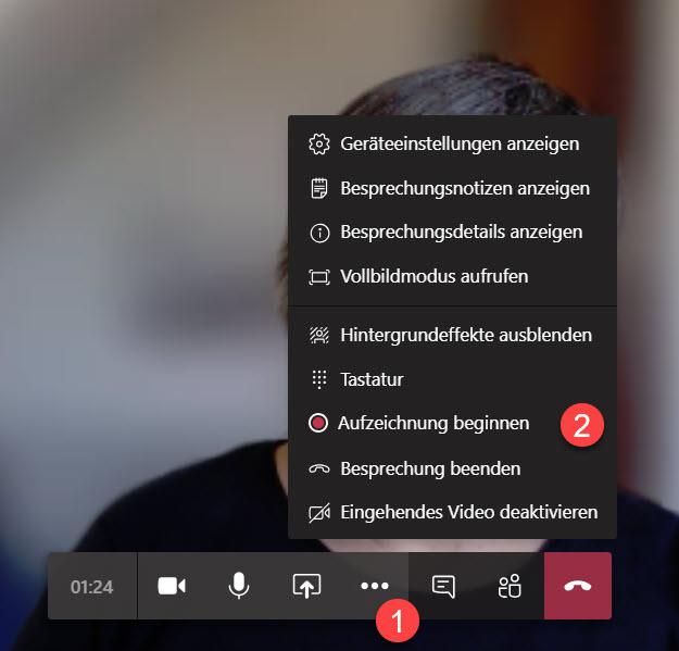 Aufzeichnung der Videokonferenz starten