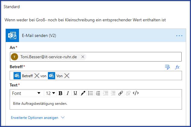 Mit Power Automate eine E-Mail erstellen